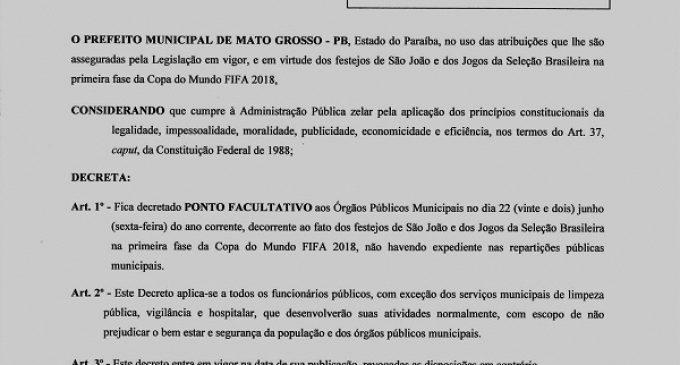 Prefeito Municipal Decreta Ponto facultativo neste dia 22 de junho de 2018